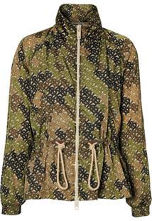 Burberry Jaqueta Monogramada Com Gola Alta - Verde
