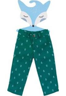 Calça Fredie Mon Petit Sarja Ancora Menino - Masculino-Verde