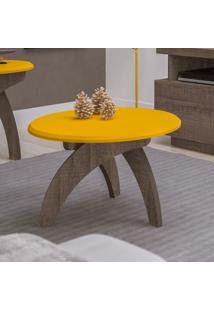 Mesa De Centro Moderna Redonda Jade Artely Canela/Amarelo