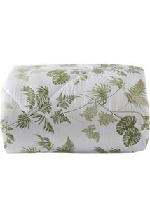 Edredom Tropical Folhagens Solteiro - Branco & Verde Clasultan