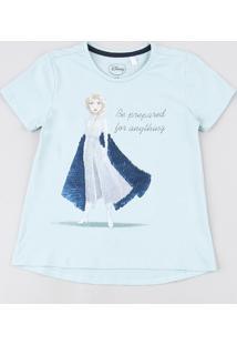 Blusa Infantil Elsa Com Paetê Vai E Vem Manga Curta Verde Água