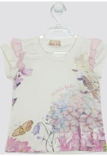 Conjunto Mariá Bebê Camiseta Floral Aquarela Saia Babados - Feminino