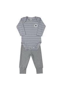 Pijama Bebê Ano Zero Suedine Listrado E Liso - Azul Jeans