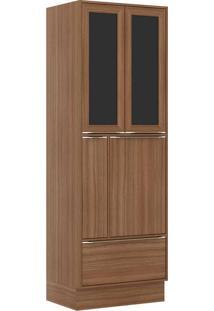 Paneleiros 4 Portas 1 Gaveta C Vidro E Rodapé 5406R Nogueira - Multimóveis