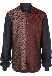 Comme Des Garçons Homme Plus Camisa Color Block Com Animal Print - Estampado