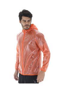 Jaqueta Corta-Vento Impermeável Com Capuz Oxer Transparente - Masculina - Laranja