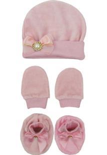 Kit Bebê Feminino Touca, Luva E Sapatinho Plush Rosa - Feminino-Rosa