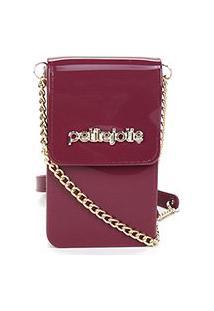Porta Celular Petite Jolie Glitter - Feminino-Vinho