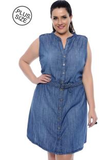 Vestido Jeans Katharina Brasil Plus Size Cinto Azul
