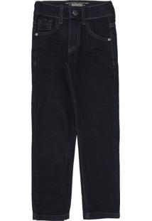 Calça Jeans Mania Kids Infantil Lisa Azul-Marinho