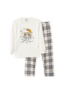 Pijama Manga Longa Em Meia Malha Penteada Pingo Lelê Tigre Off White E Xadrez / Brilha No Escuro