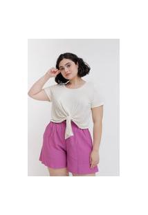 Camiseta Cropped Almaria Plus Size Tal Qual Nó Frontal Branco