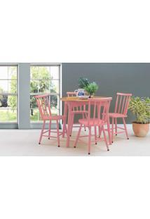 Mesa Vintage Redonda Com Cadeiras Mimo 90Cm Verniz Jatobá E Laca Rosa Coral