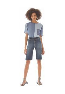 Bermuda Comfort Barra Desfiada Jeans 40