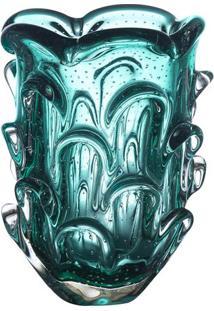 Vaso Médio Texturizado- Azul Turquesa- 26Xø18Cmcristais São Marcos