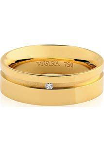 Aliança Noiva 6 Mm Ouro Amarelo E Diamante