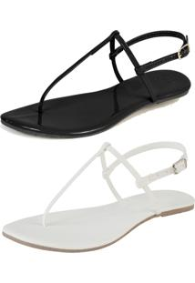 Kit 2 Pares Rasteira Simples Mercedita Shoes Verniz Preto E Napa Branca - Kanui