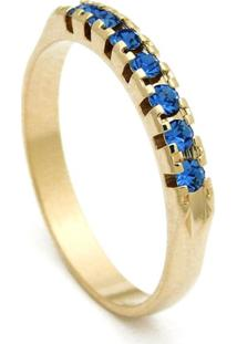 Meia Aliança Horus Import Banhada Ouro Amarelo Pedras Topázio Azul