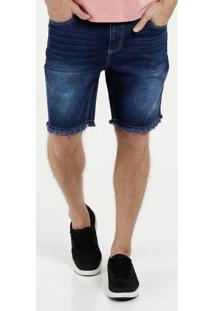 Bermuda Masculina Jeans Barra Desfiada Marisa