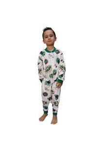 Pijama Infantil Macacão Hulk Smash 100% Algodão 14 Ao 16 Branco