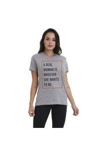 Camiseta Jay Jay Basica Real Woman Cinza Mescla Dtg