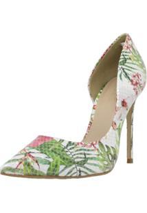 Sapato Feminino Scarpin Shepz Couro Floral - Tricae