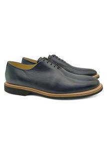 Sapato Oxford Masculino Couro Wholecut Bico Redondo Conforto Café 45 Azul Marinho