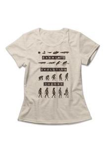 Camiseta Feminina Teoria Da Evolução Bege