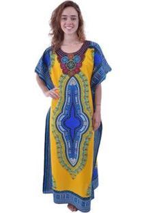 Kaftan Shopping Bali Étnica - Feminino-Amarelo