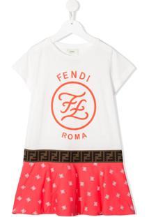 Fendi Kids Vestido Mangas Curtas Com Estampa De Logo - Branco