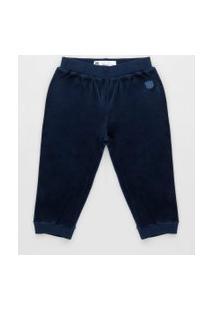Calça Infantil Básica Em Plush Azul Marinho