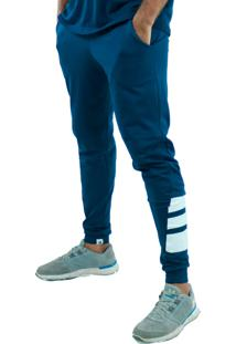 Calça Suplex Aveludada Bravaa Modas Faixas Largas Skinny Slim 313 Azul