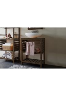 Gabinete Pia Compacto Ripado Aquiles - Armário Pequeno De Banheiro De Madeira Cor Nogueira - 57X39X75Cm