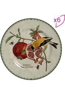 Conjunto De Pratos Para Sobremesa Romã- Bege Escuro & Vescalla Cerâmica