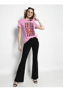 Camiseta Com Recorte Vazado- Rosa & Preta- Coca-Colacoca-Cola