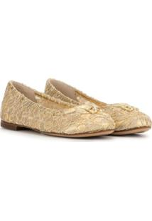 Dolce & Gabbana Kids Sapatilha Com Rende E Detalhe De Cristais - Dourado