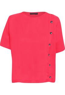 Camiseta Feminina Com Botões Deslocados - Vermelho