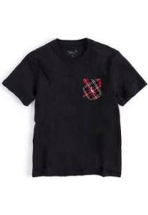 Camiseta Infantil Bolso Xadrez Junino Reserva Mini Masculina - Masculino-Preto