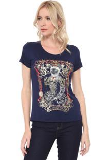 Camiseta Carmim Queen Cat Azul-Marinho