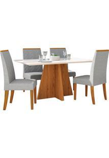 Mesa De Jantar Parma Com 4 Cadeiras Carvalho Americano/Off White