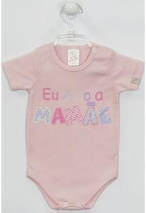 Body Bebê Manga Curta Mamãe - Feminino-Rosa