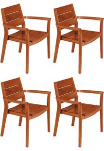 Conjunto Com 4 Cadeiras Para Área Externa Ii Toscana Marrom