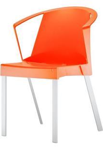 Cadeira Shine Assento Laranja Com Bracos Base Aluminio Cinza - 54178 Sun House
