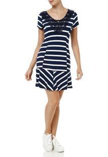 Vestido Curto Feminino Branco/Azul Marinho