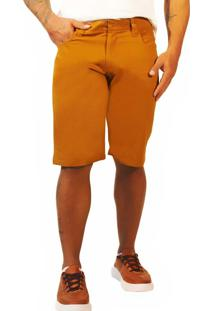 Bermuda Jeans Sandro Moscoloni Basic Marrom Amarelado