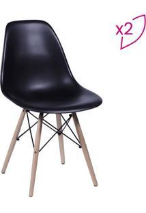 Jogo De Cadeiras Eames Dkr- Preto & Bege- 2Pã§S- Or Design