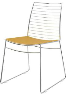 Cadeira 1712 Cromado Com Assento Courissimo Amarelo - 27672 - Sun House