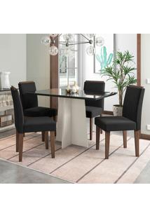 Conjunto De Mesa De Jantar Com Tampo De Vidro E 4 Cadeiras Ana Veludo Preto