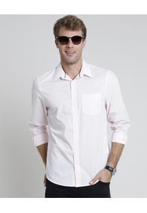 Camisa Masculina Comfort Estampada Mini Print Geométrica Com Bolso Manga Longa Rosa Claro