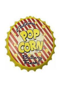 Enfeite Decorativo Tampa Popcorn Plástico Cor Amarelo 40X40